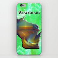 wisconsin iPhone & iPod Skins featuring Wisconsin Map by Roger Wedegis