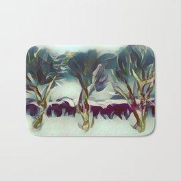 3 Winter Trees Deep Maroon Purple by CheyAnne Sexton Bath Mat
