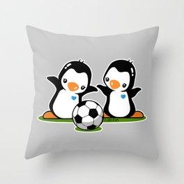 Soccer Penguins Throw Pillow