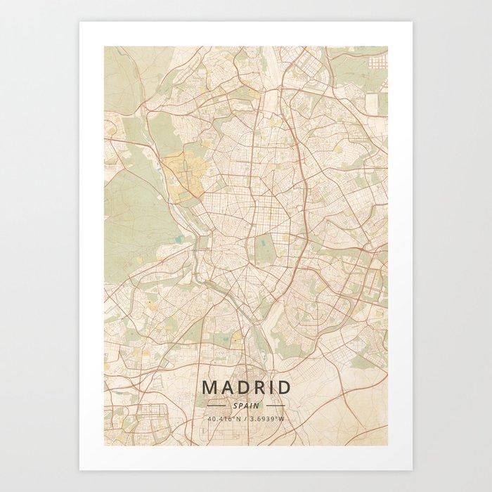 Map Of Spain To Print.Madrid Spain Vintage Map Art Print By Designermapart
