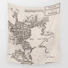Vintage Map of Plymouth England (1764) Wall Tapestry