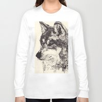 wolves Long Sleeve T-shirts featuring Wolves by Maria Gabriela Arevalo Reggeti
