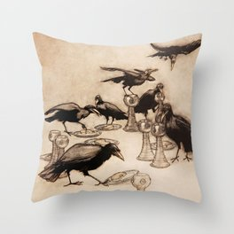 """The Seven Ravens"" by Arthur Rackham From The Grimm Brothers Throw Pillow"