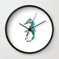 seahorse Wall Clocks featuring SEAHORSE by Monika Strigel