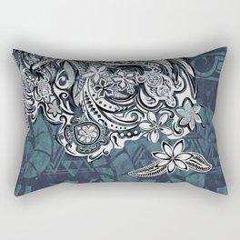 Samoan - Hawaiian - Polynesian Tribal emerald Blue Leaves Rectangular Pillow