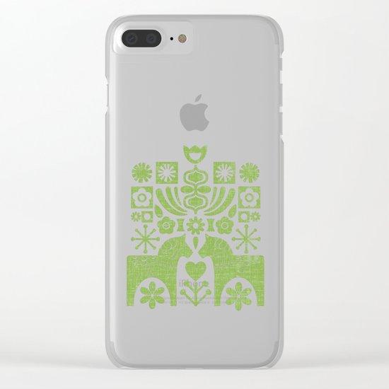 Swedish Folk Art - Greenery Clear iPhone Case