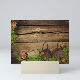 Vintage Shabby Chic Flowers In Rustic Basket Mini Art Print
