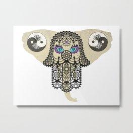 Hamsa Elephant Ying Yang Tree A403 Metal Print