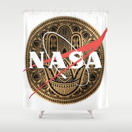 NASA Zen Mandala Classic Logo Graphic Tee Shower Curtain