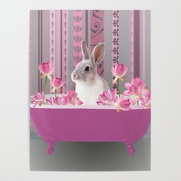 Bunny sitting in bathtub with lotus flowers #society6 Poster