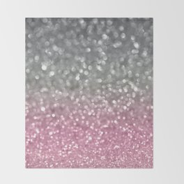 Gray and Light Pink Throw Blanket