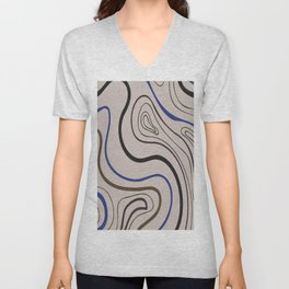 Graphic circular waves digital oil painting lines. Unisex V-Neck