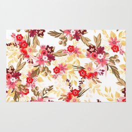 Pastel pink red brown modern hand drawn fall floral illustration Rug