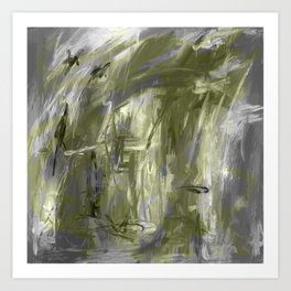 It is so Wavey Grey and Olive Green Acrylic Abstract Art Kunstdrucke