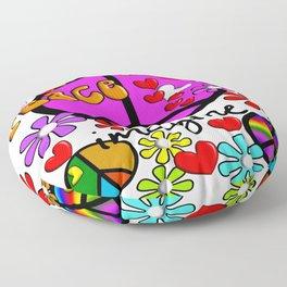 Imagine Peace Sybols Retro Style Floor Pillow