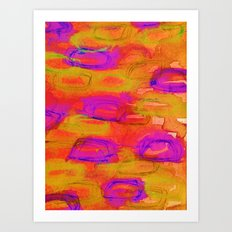 NOT YET, NIGHT - Bright Bold Colorful Abstract Watercolor Mixed Media Painting Warm Dusk Tones Art Print