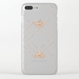 Geometrical rose gold abstract elegant triangles pattern Clear iPhone Case