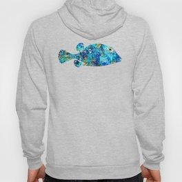 Blue Puffer Fish Art by Sharon Cummings Hoody