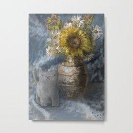 Small Grey Cat and Still Life Metal Print