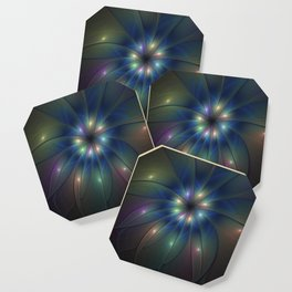 Luminous Fractal Art, Colorful Flower Graphic Coaster