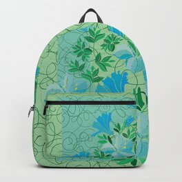 Frame from abstract blue flowers with background Backpack