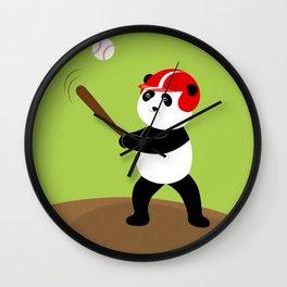 Play baseball together with a panda. Wall Clock