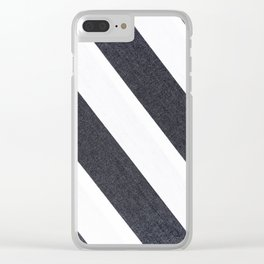 White & Black Stripes Clear iPhone Case