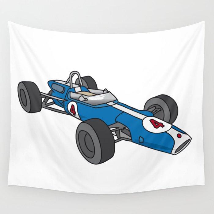Blue vintage racing car / racecar Wall Tapestry