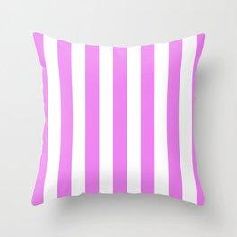 Vertical Stripes (Violet/White) Throw Pillow