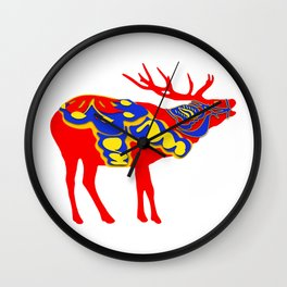 Graphic Elk 02 Swedish Dala Male Wall Clock