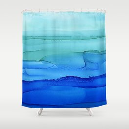 Alcohol Ink Seascape Shower Curtain