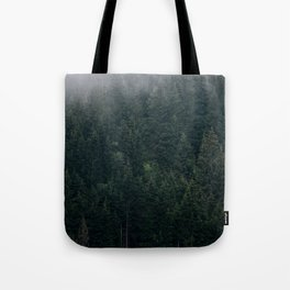 Mystic Pines - A Forest in the Fog Tote Bag