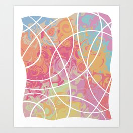 Trippy Swirly Patches Art Print