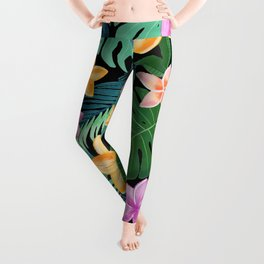 Tropical pattern with colourful plants Leggings