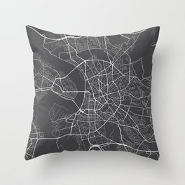 Dusseldorf Map, Germany - Gray Throw Pillow