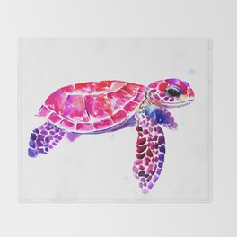Purple Turtle Bright Pink, purple blue turtle illustration, children room decor Throw Blanket