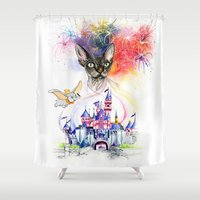 simba Shower Curtains featuring Simba the princess sphynx by Psyca