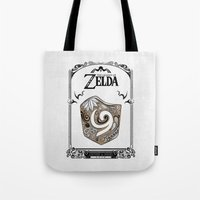 the legend of zelda Tote Bags featuring Zelda legend - Kokiri shield by Art & Be
