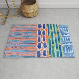 Blue Shapes Pattern Rug