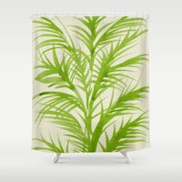 lime Shower Curtains featuring Lime Palms by Cat Coquillette