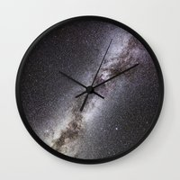 milky way Wall Clocks featuring Milky Way by Space99