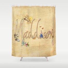 Maddison / Personalised Name Illustration Shower Curtain