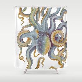 Octopus Tentacles Steel Blue Watercolor Art Shower Curtain