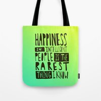 hemingway Tote Bags featuring Hemingway: Happiness by Leah Flores