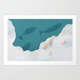 Polar Bears & Narwhals Art Print