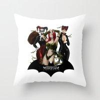 selena Throw Pillows featuring the Gotham Sirens by Esteban Barrientos
