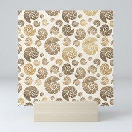 Sea shells pattern pastel gold Mini Art Print