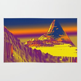 Mountain landscape colorful illustration painting Rug