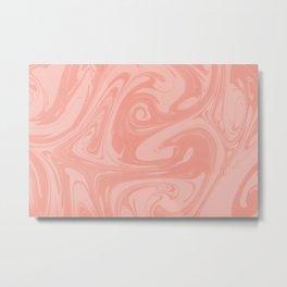 Pantone Living Coral Abstract Fluid Art Swirl Pattern Metal Print