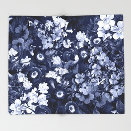 Bohemian Floral Nights in Navy Throw Blanket